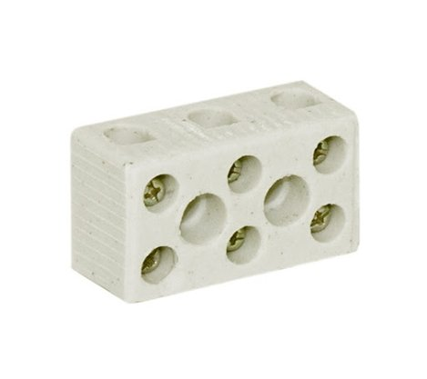 Conector Porcelana Tripolar 10mm² - 3 Pólos - 50A