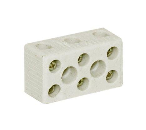Conector Porcelana Tripolar 16mm² - 3 Pólos - 68A