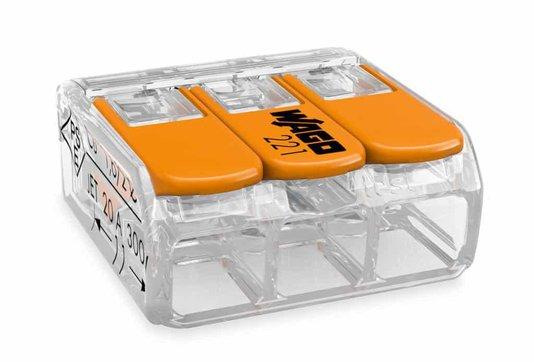 Conector WAGO Legítimo 221-413 - 3 Pólos - Até 4mm