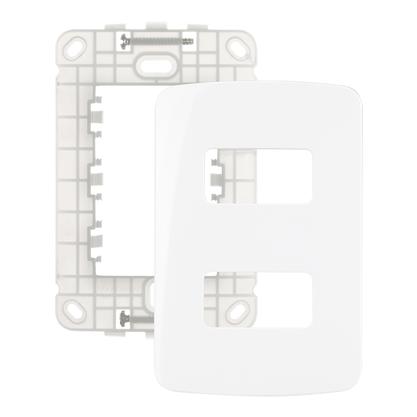 Conjunto Placa Com Suporte 4x2 P/ 2 Módulos Separados - Linha B3 - Margirius