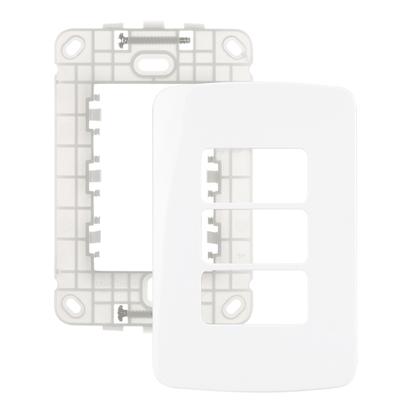 Conjunto Placa Com Suporte 4x2 P/ 3 Módulos Separados - Linha B3 - Margirius