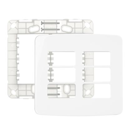 Conjunto Placa Com Suporte 4x4 P/ 6 Módulos Separados - Linha B3 - Margirius