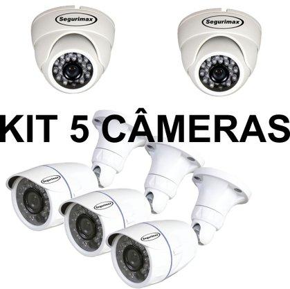 Kit 5 Câmeras: 2 Câmeras Dome + 3 Câmeras Bullet