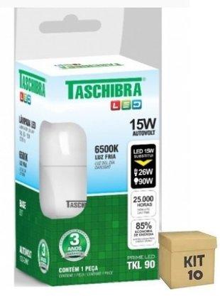 Kit Lampada Bulbo Led 15W 6500K - Taschibra - Bivolt - 10 unidades