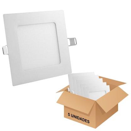 Kit Luminária Led Plafon Embutir 400X400 30w/36w* 6500K - Branco Frio - 5 unidades