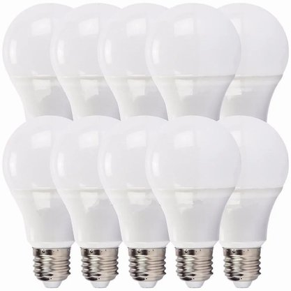 Kit Lampada Bulbo Led 12W 6000K - Bivolt - Branco Frio - 10 unidades