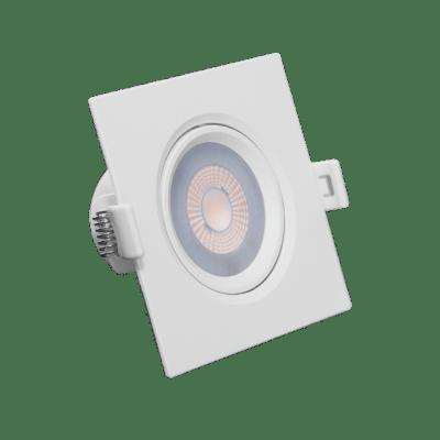 Luminaria Led Spot Embutir Quadrado PAR20 7W 2700K - RomaLux - Branco Quente