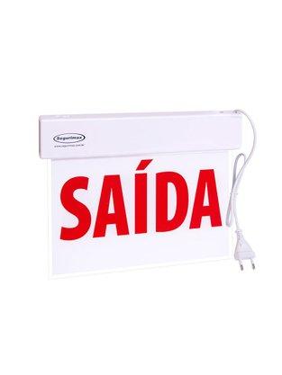 Placa de Sinalização Saída Slim Face Única com Adesivo e Bateria - Segurimax