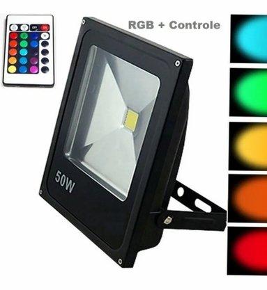 Refletor Holofote Led Bivolt - 50W - RGB