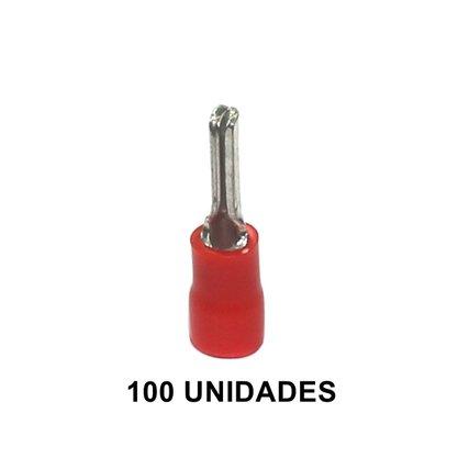 Terminal Pré-Isolado Pino Agulha Para Cabo 1,5mm² - Vermelho - 100 Unidades