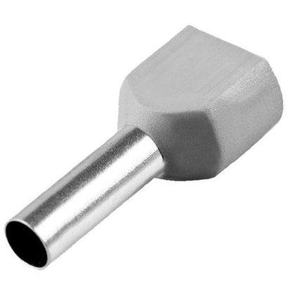Terminal Tubular Ilhós Duplo 0,75mm² - Cinza