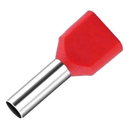 Terminal Tubular Ilhós Duplo 1,0mm² - Vermelho